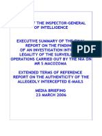 Executive Summary of the final report on the findings  of an investigation into the legality of the surveillance operations carried out by the NIA on Mr S Macozoma