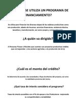 Programa de Financiamiento Agricola