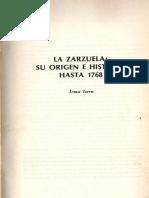 La Zarzuela Su Origen e Historia Hasta 1768 Por Irma Isern