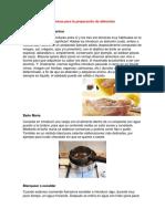 Técnicas Para La Preparación de Alimentos y Actividades Economica de America