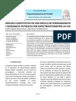 ANÁLISIS CUANTITATIVO DE UNA MEZCLA DE PERMANGANATO Y DICROMATO POTÁSICOS POR ESPECTROFOTOMETRÍA UV-VIS