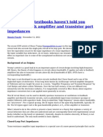 What Circuits Textbooks Haven t Told You About Feedback Amplifier and Transistor Port Impedances