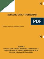 Semana 1 - Derecho Civil, Sujeto de derecho, T.P., La Persona, El Concebido.(1).ppt