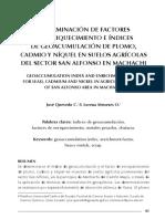 DETERMINACIÓN DE FACTORES DE ENRIQUECIMIENTO E ÍNDICES DE GEOACUMULACIÓN DE PLOMO, CADMIO Y NÍQUEL EN SUELOS AGRÍCOLAS DEL SECTOR SAN ALFONSO EN MACHACHI