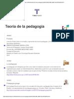 Teoria de La Pedagogia