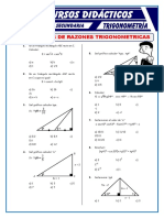 Ejercicios de Razones Trigonométricas Para Cuarto de Secundaria