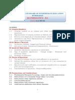 Telengana Board of Intermediate Education II Year Math IIA Syllabus (1)