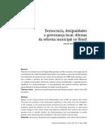Democracia, desigualdades e governança local