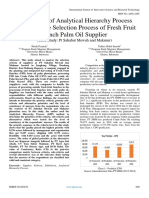 Application of Analytical Hierarchy Process Method on the Selection Process of Fresh Fruit  Bunch Palm Oil Supplier (Case Study