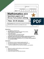 1MA1 - Specimen Papers Set 1 - 4-5 Practice Paper Bronze