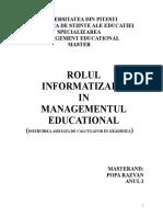 Rolul Informatizarii in Managementul Educational