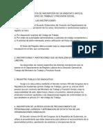 PROCEDIMIENTOS DE INSCRIPCION DE UN SINDICATO ANTE EL MINISTERIO DE TRABAJO Y PREVISION SOCIAL.docx