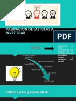Validacion de Las Ideas a Investigar