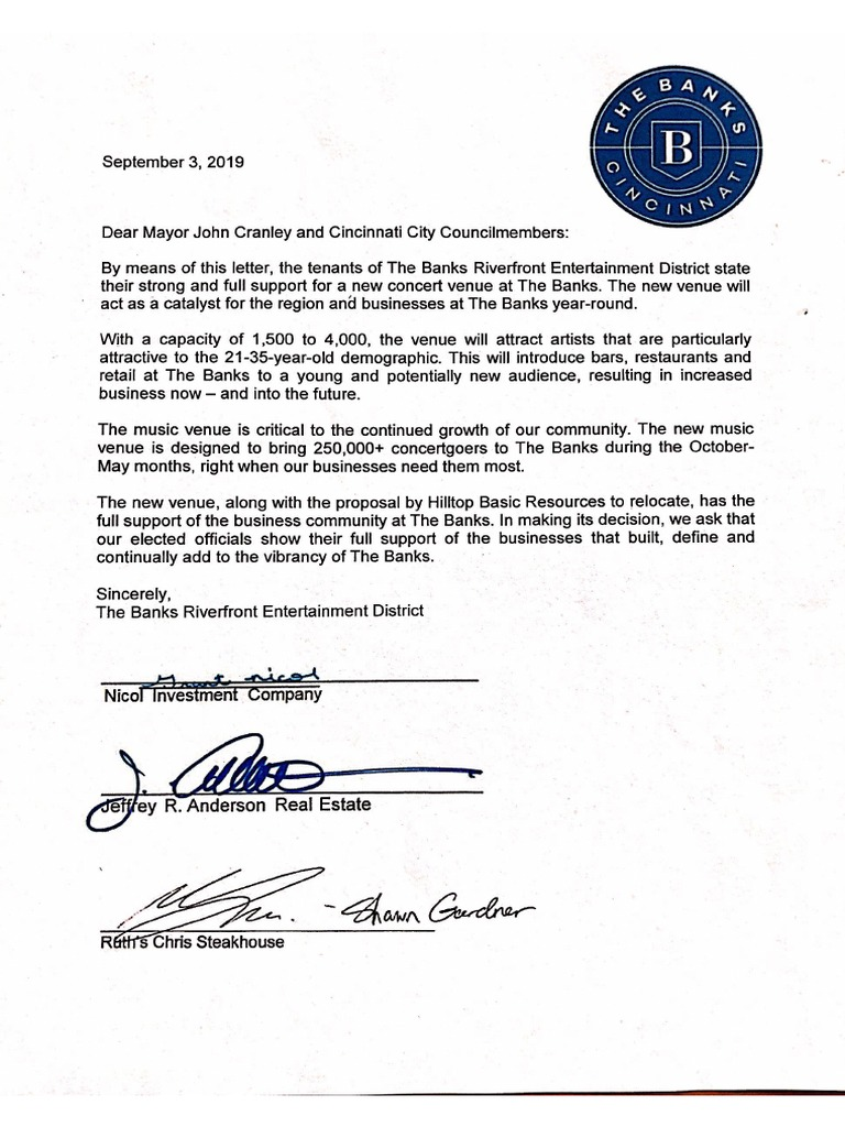 letter to mayor cranley and city council from tenants of