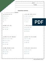 Atividade de Matematica Expressoes Numericas 5º Ou 6º Ano Respostas