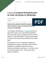 Facebook Prepara Ferramenta Para Ler Suas Conversas No WhatsApp