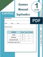Septiembre - 1er Grado - Examen Mensual (2018-2019)