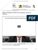 Alberto Fenández Se Refirió a Los Mercados y Criticó Al Gobierno