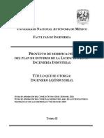 Plan de estudios (Ingeniería Industrial, Facultad de Ingeniería, UNAM).