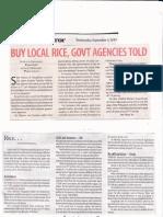 BusinessMirror, Sept 4, 2019, Buy local rice, govt agencies told.pdf