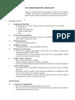 Thesis Defense Checklist
