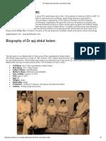 APJ Abdul Kalam Life History and Achievements