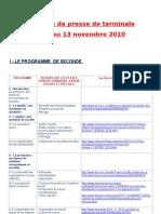 Revue de Presse de SES de Terminale Du 8 Au 13 Novembre2010