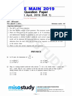 JEE Main 2019 Question Paper 08 April 2019 Shift 1 by Govt