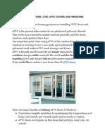 Why Everyone Love uPVC Doors and Windows - Usha Fenestra System