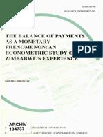 Monetary Approach-A Study of Zimbabwe