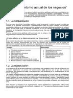 """FADE Tema 1 """"El Entorno Actual de Los Negocios"""""""