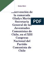 Discurso de Gladys Marin en El XIII Congreso Nacional Del Partido Comunista de Chile 1965