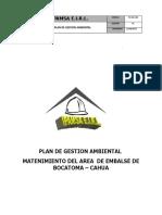 Plan de Gestion Ambiental- Mantenimiento Del Área de Embalse de La Bocatoma Cahua