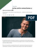 Cinco diferencias entre emociones y sentimientos