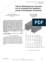 Using Shear Walls in Minimizing the Torsional Coupling Effects of Asymmetrical Multistory Buildings Subjected to Earthquake Excitations IJERTV3IS120845