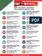 Calendario Nacional de Ferias y Eventos Agropecuarios 2019