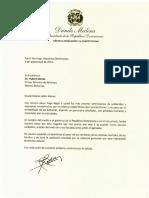 Carta de condolencias del presidente Danilo Medina al primer ministro de Bahamas, Hubert Minnis, por víctimas del huracán Dorian