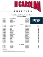 SC women's hoops basketball schedule