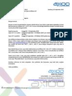 Pemberitahuan Ujian Sertifikasi Axioo September 2019