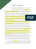 Freire y La Pedagogia Critica