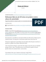 Bolsonaro Fala Em Até 20 Vetos Em Projeto Contra Abuso de Autoridade - 03-09-2019 - Poder - Folha