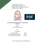 CULTIVO DE MICROORGANISMOS PARA LA PRODUCCIÓN DE ALIMENTOS