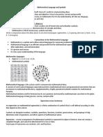 Handout - Mathematical Language and Symbols