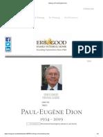 Obituary of Paul-Eugène Dion