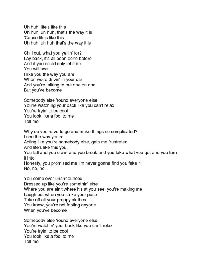 avril lavigne complicated lyrics docx
