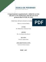 Comportamiento organizacional y calidad de servicio educativo
