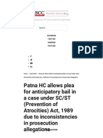 Patna HC Allows Plea for Anticipatory Bail in a Case Under SC_ST (Prevention of Atrocities) Act, 1989 Due to Inconsistencies in Prosecution Allegations _ SCC Blog