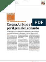 Cesena, Urbino e Roma per il geniale Leonardo - Il Corriere Romagna del 4 settembre 2019