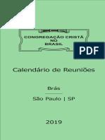 Calendário 2019 CCB Brás