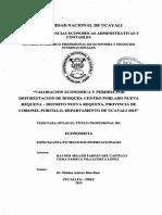 Valoración Económica y Perdida Por Deforestación de Bosques, Centro Poblado Nueva Requena - Distrito Nueva Requena - Provincia de Coronel Portillo - Departamento de Ucayali - 2015